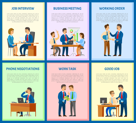 Job interview and business meeting of workers vector. Negotiations on mobile phone, leader giving task to employee. Candidate and boss with resume Illusztráció