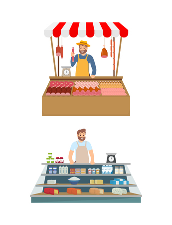 Farmer in kiosk selling meat and dairy products set. Vendor with pork, beef and chicken, seller in stall. Isolated icons of salesman farmers vector