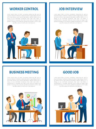 Worker control, supervisor boss and working novice sitting by computer vector. Job interview of woman, business meeting of teamwork, conference hall