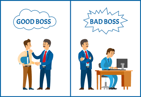 Good and bad boss, director treating to office workers vector. Businessman supervising novice working by personal computer and praising man with file 矢量图像