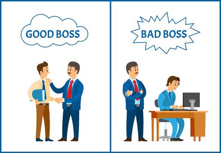 Guter und schlechter Chef, Direktor, der den Büroangestelltenvektor behandelt. Geschäftsmann, der den Anfänger beaufsichtigt, der mit einem PC arbeitet und den Mann mit der Datei lobt
