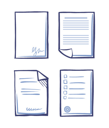 Office paper and documentation monochrome sketches outline isolated icons set. Pages with signatures and stamps of boss person vector. Documents sheet