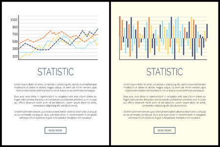 Statistics websites, charts and infographics set vector. Poster with text sample, schemes falling and rising results data. Flowcharts and explanation