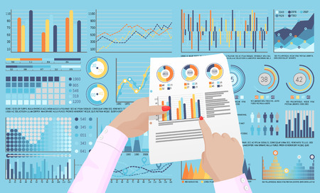 Infographics and infocharts on pages and documents vector. Hand of business person pointing to results of investigation paper, analysis flowchart