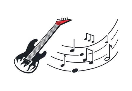 Elektrische gitaar, muziekinstrument in rockstijl
