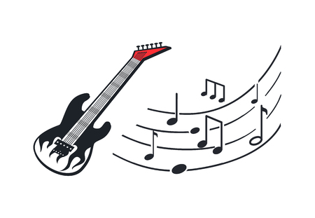 Electric Guitar, Music Instrument in Rock Style Illustration