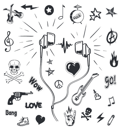 Music headphones, musical monochrome sketches outline and symbols icons vector. Earphones and electric guitar, drums and notes. Skull and rock sign
