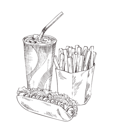 Soft drink in plastic cup monochrome sketches outline. French fries in package, hot dog made of fresh bun and sausage, vegetables vector illustration