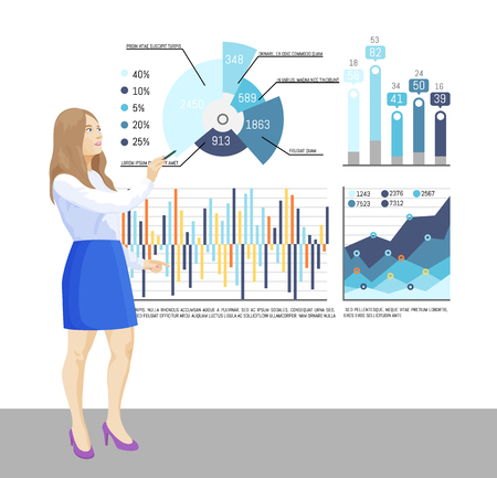 Presenter with whiteboard, infographics charts vector. Text sample explanation, flowcharts material of seminar. Workshop, business training teaching