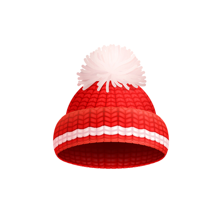 Knitted red hat with white pom-pom vector icon isolated. Warm headwear item, winter cloth thick woolen chunky yarn, hand knitting crochet headdress Vetores