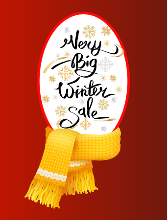 Very big winter sale poster, knitted scarf with woolen threads on winter tag with info about discount. Warm neckerchiefs accessories, special offer