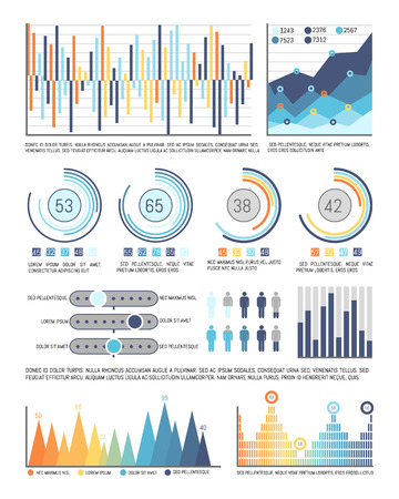 Infographics and pie diagrams with figures data vector. Tables and schemes with people population information. Circles flowcharts and infocharts Illusztráció