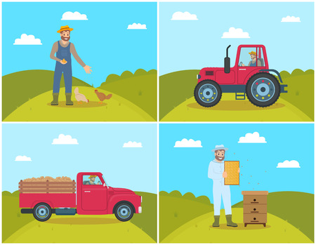 Beekeeper on field and lorry. Chicken feeding, man tending hens poultry on farm. Tractor and van with trailer and potatoes harvested veggies vector Ilustração