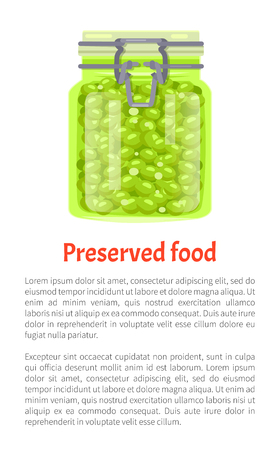 Preserved food green peas conserved in unlabeled jar with metal cap. Glass pot with marinated vegetables. Healthy product with text sample vector Çizim