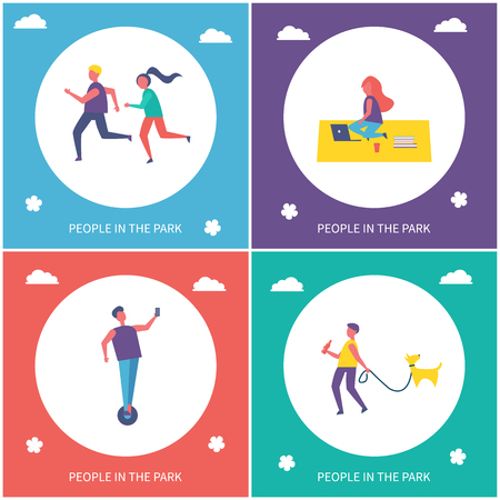 Teens having rest and active leisure in park vector cartoon banners set. Couple running and jogging and boy riding on unicycle, guy with dog on leash