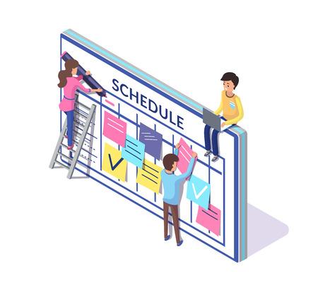 Planificación de horarios, gente trabajadora creando vector de horario. Escalera y persona en ella, marcas de verificación y listas en notas, pegatinas y notas adhesivas Ilustración de vector