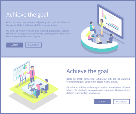 Achieve goal text sample on posters set vector. Big whiteboard and presenter giving information to listeners workers sitting by table. Analyst data 写真素材 - 126168667