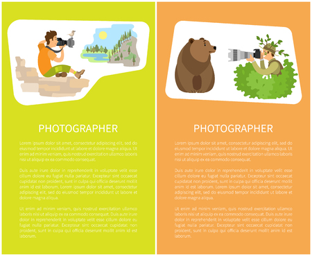 Photographers taking picture with photo equipment. Photojournalist and reporter sitting making photo of mountain and bear animal posters with text