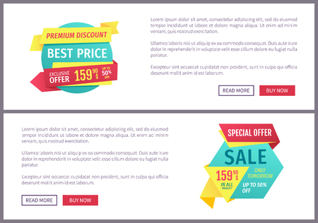 Big sale, mega discount and hot price advertising phrases banner set with text. Special exclusive offer landing page sample for shops and stores e-commerce. Stock Vector - 126168672