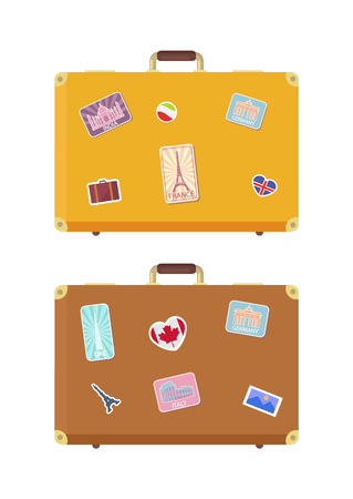 Luggage journey time to travel isolated icons vector. Baggage with stickers of Eiffel tower, Taj Mahal and Roman Colosseum. Berlin and Germany sights