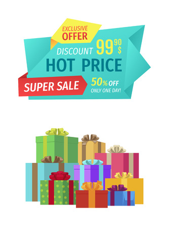 Hot price super sale and exclusive offer only one day. Gifts with decorative ribbons and wrapping. Boxes with surprise discounts super deals vector Illustration