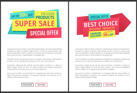 Special offer banners set, vector design icons. Super sale, best choice, exclusive products, premium discount promotion, buy now, origami style online poster