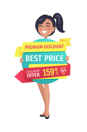 Premium discount and best price exclusive offer for clients. Smiling woman holding ribbon with clearance and good deal for shoppers isolated on vector Illustration