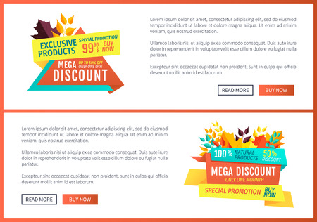 Special promotion mega discount posters set. Buy now exclusive product only one day autumnal proposition. Natural quality products autumn offer vector