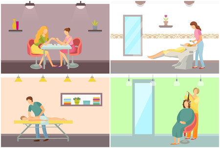 Spa salon hair wash and hairstyling vector posters set. Body massage and manicure procedure made by manicurist, beauty room interiors with specialists