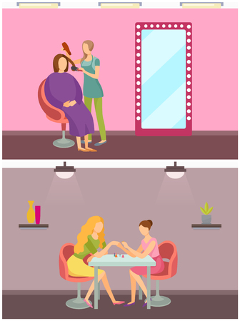 Hair styling hairdresser and manicurist set working people vector. Nail polishing procedure and making new design, hairstyle changing of woman client