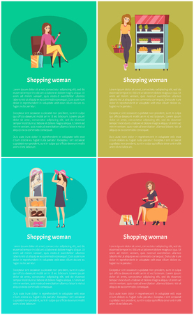 Shopping woman relaxing on cozy armchair set of posters with text sample vector. Fridge with fruits and vegetables, hat choosing, lady wearing shoes