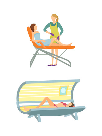 Spa salon tanning and epilation isolated icons set vector. Depilation with wax, hair removal on legs, solarium sunroom relaxation and color changing Ilustracja