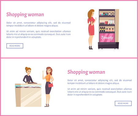 Shopping woman and beauty cosmetics stand with production for makeup vector. Woman choosing mascara, lipstick and foundation. Girl in jewelery shop Illustration