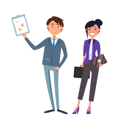Man showing clipboard page with pie diagram and charts vector. Woman with briefcase and envelope. Leaders with strategic plan discussing business problems