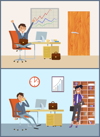 Businessman with woman client in man office room vector. Whiteboard with graphics and diagrams director talking on mobile phone by table with computer 向量圖像