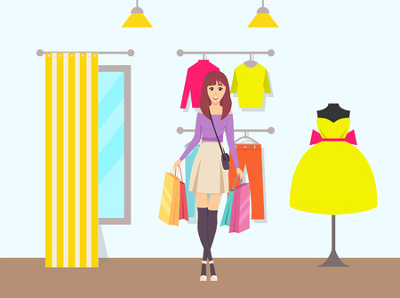 Female shopaholic with bags walking away from store vector. Purchased items in container, shop with changing room and clothes. Dress and sweater pants