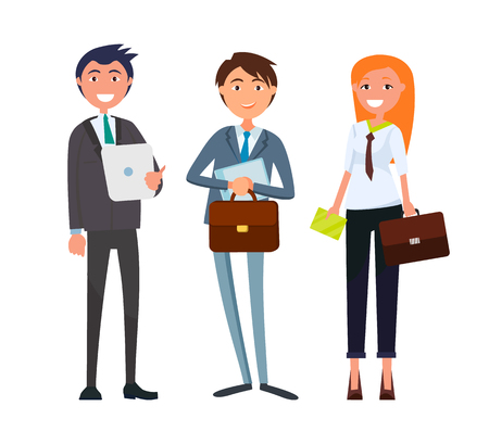 Businesswoman and businessman with business papers and documentation vector. Woman holding briefcase, workers with modern device, gadget tablet usage