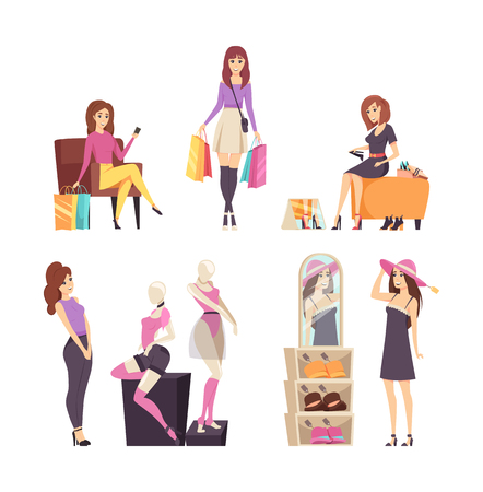 Shopping young woman with bags isolated set vector. Lady trying on shoes and hats with decorations. Female looking at mannequin with clothes underwear Illusztráció