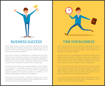 Business success, businessman holding victory cup vector. Prize award in hands of chief executive, triumph of manager working in company. Happy boss Illustration