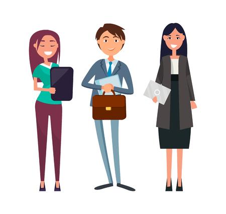 Vektor-Mann mit Blatt Papier, Chef mit Dokumenten, Frau mit Aktenkoffer isolierte Zeichen. Team von Firmenmitarbeitern in formeller Kleidung Vektorgrafik