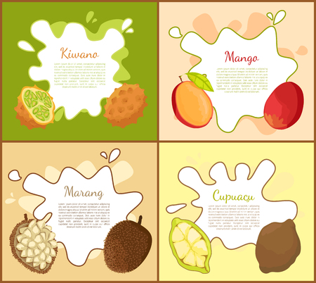 Kiwano and Mango Posters Set Vector Illustration