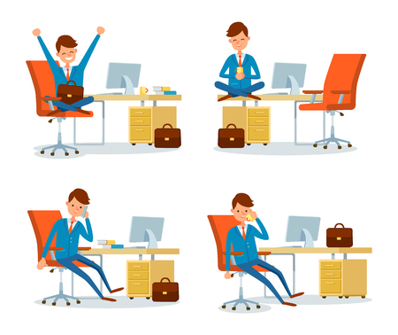 Businessman relaxing by drinking tea by table vector. People working in office having rest during break time. Executive chief talking on mobile phone 向量圖像