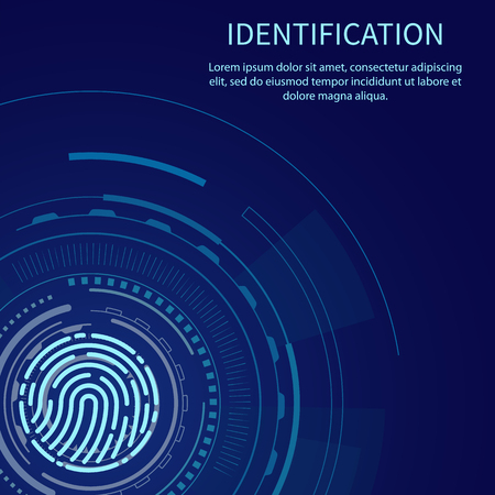 Identification poster with text sample vector. Fingerprint and digital scanning system of prints recognition. Authentication method scan fingermark Illusztráció