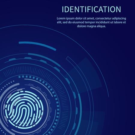 Poster di identificazione con vettore di esempio di testo. Sistema di riconoscimento impronte digitali e scansioni digitali. Metodo di autenticazione scansione impronte digitali