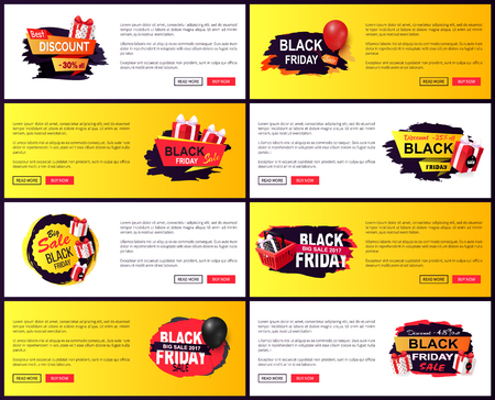 Black friday discounts and special offers web pages set vector. Balloon and basket with presents, clearance and promotion, exclusive products sellout