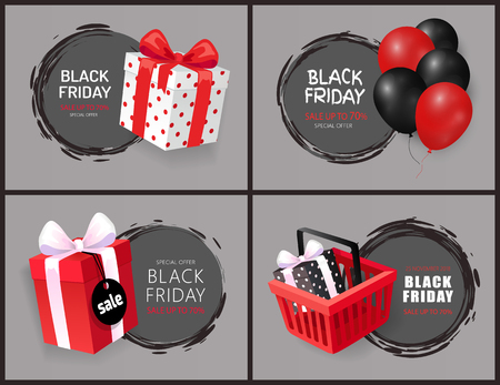 Black Friday Discount and Sales Isolated Banners