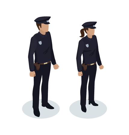 Policewoman and policeman people in black uniform with badges. Worker protecting from criminals. Cop on duty 3d isometric copper police officer vector Illustration