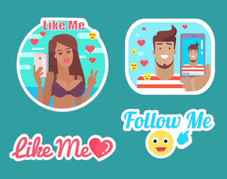 Follow and Like Me Bloggers Male and Female Vector Illustration