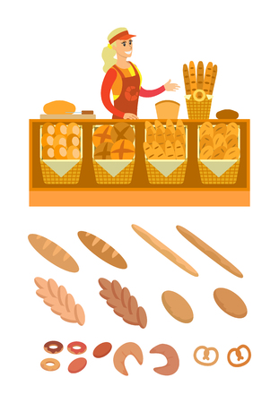 Supermarket seller of bread products and bakery vector. Variety of buns, baguettes and pretzels, donuts and baked cakes. Desserts and wheat pastry Illustration