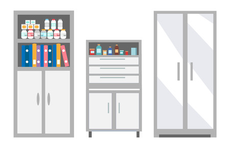 Veterinary furniture keeping pills and drugs in safe place vector. Refrigerator and chest of drawers, medication bottles with remedy. Treatment pets of vet Illustration
